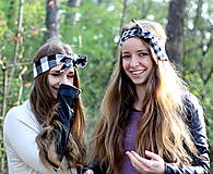 Ozdoby do vlasov - Dámska textilná čelenka Károvaná čierno biela - 8036062_