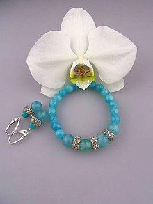 Sady šperkov - striebro, jadeit súprava blankytná orchidea - 8035800_