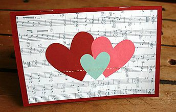 Papiernictvo - Notová osnova lásky - vreckový album (7 fotografií 10x15cm) - 8039026_