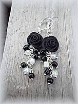 - Queen Rose čierno-biele náušnice - 8038983_