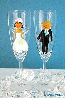 Darčeky pre svadobčanov - Svadobné poháre ♥ženích a nevesta♥ - 8035589_