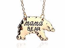 Prívesok medveď MAMA BEAR s retiazkou zlatá