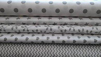Textil - bavlnené látky biele so sivým vzorom - 8041435_