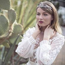 Ozdoby do vlasov - Mosadzná biela tiara s rutilom- Rozkvitnutie I. - 8040907_