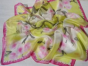 Šatky - Sakura..hodvábna šatka - 8039533_