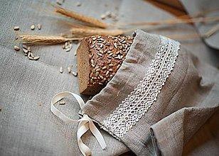 Úžitkový textil - Vrecko na chlieb s motívom krajka - 8043072_