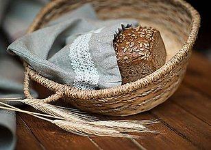 Úžitkový textil - Vrecko na chlieb s motívom krajka veľké - 8043178_