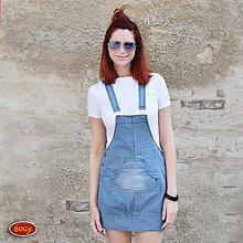 Šaty - elastická riflová šatovka s klokaní kapsou,záhyby (velikost 38) - 8040439_