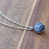 """Náhrdelníky - Oceľový náhrdelník """"Čierny mramor"""" - 8042169_"""