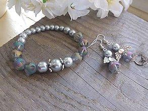 Sady šperkov - SAda-náramok leptané sklo+anjeliky - 8043318_