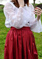 - Biely top s transparentnými rukávmi - 8041609_