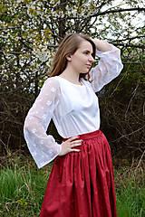 Topy - Biely top s transparentnými rukávmi - 8041611_