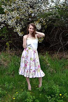 Sukne - Kvetovaná sukňa s volánom - obrovská zľava - 8041542_
