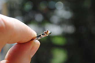 Prstene - 1x alebo tepaný prstienok so srdiečkom - 8044796_