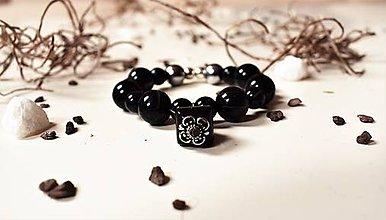 Náramky - Náramok Romantik čierny s príveskom - 8045465_
