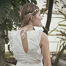 Ozdoby do vlasov - Mosadzná biela tiara - Rozkvitnutie IV. - 8043683_