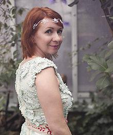 Ozdoby do vlasov - ZĽAVA-Mosadzná biela tiara - Rozkvitnutie V. - 8043840_