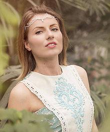Ozdoby do vlasov - Mosadzná biela tiara - Rozkvitnutie VI. - 8044053_
