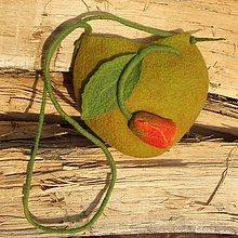 Kabelky - ...plstená taška - zelená s tulipánom... - 8046419_