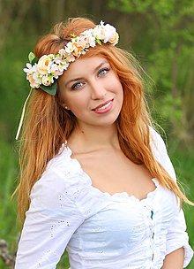 Ozdoby do vlasov - Kvetinový venček s pivonkami, margarétkami a gypsomilkou - 8043831_