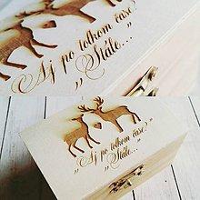 Darčeky pre svadobčanov - Gravírovaná krabicka na prstienky - 8046750_