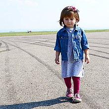 Detské oblečenie - Šaty s krátkym rukávom ružové bodky na šedej - 8045241_