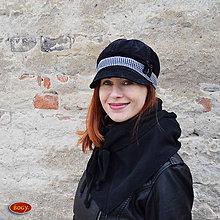 Čiapky - černá manšestrová bekovka s kostičkou - 55/58cm - 8047114_