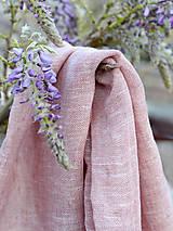 Šatky - Dámsky nákrčník ružovo-hnedej farby z ľanu - 8043611_