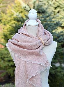 Šatky - Jemná ružovo-hnedá šatka z čistého ľanu - 8043575_