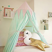 Textil - Ružovo mentolkový baldachýn - 8044322_