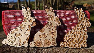 Dekorácie - Sada drevených zajacov - Floral - 8044017_