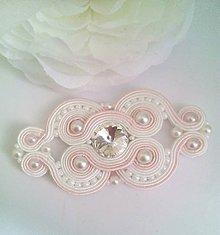 """Iné šperky - Šujtáš aplikácia na svadobné šaty - """"Norah""""  - ružovo biela - 8044302_"""