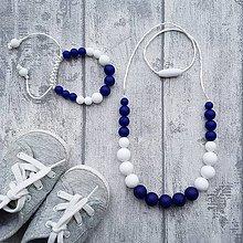 """Sady šperkov - Set silikónového náhrdelníku a náramku """"Navy"""" - 8045254_"""