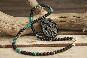 Šperky - Pánsky náhrdelník onyx, achát a chryzokol - 8045487_