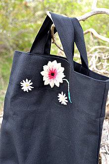 Nákupné tašky - Čierna vyšívaná nákupná taška - 8043549_