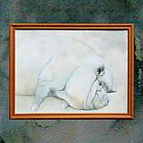 Obrazy - Prase - akvarel v rámečku - 8044021_