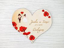 Darčeky pre svadobčanov - Magnetka srdce maky - 8043753_