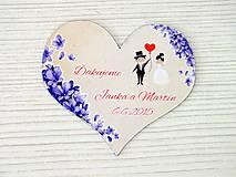 Darčeky pre svadobčanov - Magnetka srdce levandule - 8043775_