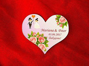 Darčeky pre svadobčanov - Magnetka srdce ruže2 - 8043769_