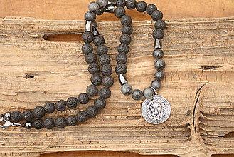 Šperky - Pánsky náhrdelník láva, labradorit a hematit - 8049053_