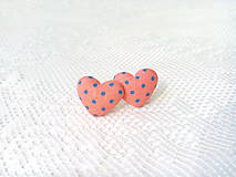 Náušnice - Little hearts earrings (salmon orange/blue dots) - 8047603_