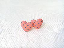 Náušnice - Little hearts earrings (salmon orange/blue dots) - 8047603_