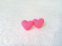 Náušnice - Little hearts earrings (neon pink/orange) - 8047863_