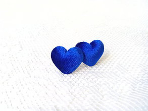 Náušnice - Velvet hearts earrings (royal blue) - 8049491_