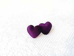 Náušnice - Velvet hearts earrings (dark violet) - 8049624_