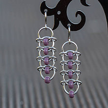 Náušnice - Korálkové hřbety - náušnice (fialové) - 8047525_