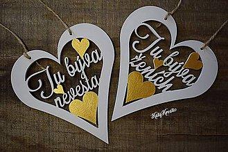 Dekorácie - svadobné srdiečka v zlatom prevedení - 8047836_