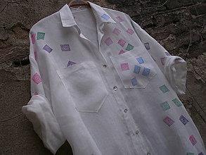 Košele - Veliká lněná košile - 8049998_