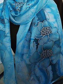 Šatky - tyrkysové kvety - 8050423_