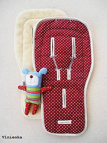 Textil - Bodkovaná podložka do kočíka BUGABOO wool 100% Ovčie rúno BODKA bordová - 8047940_